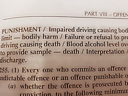 Impaired Driving Penalties in the Criminal Code